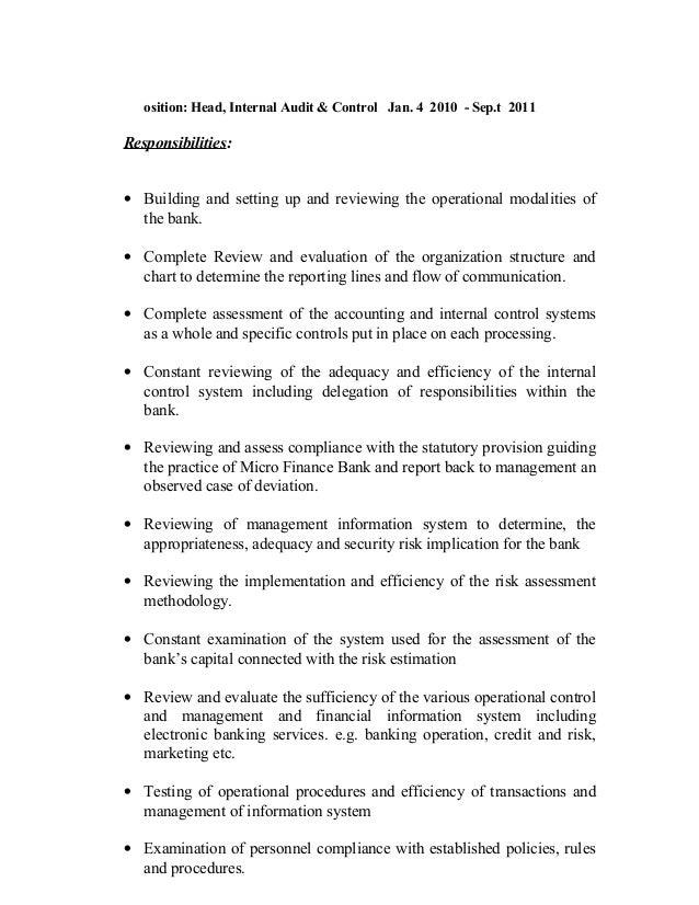 8 osition head internal audit
