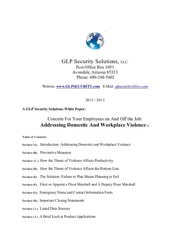 GLP Security Solutions, LLC. Post Office Box 1051 Avondale, Arizona 85323 Phone: 480-268-5602 Website: www.GLPSECURITY.com...