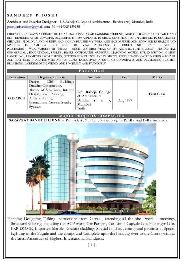 Pdf Resume Architect Sandeep Joshi 31 10 2012