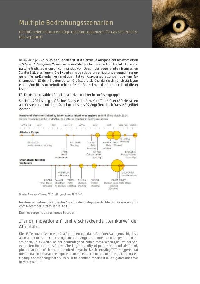 Multiple Bedrohungsszenarien Die Brüsseler Terroranschläge und Konsequenzen für das Sicherheits- management 04.04.2016 pf ...
