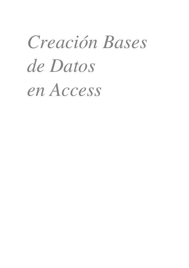 Creación Bases de Datos en Access