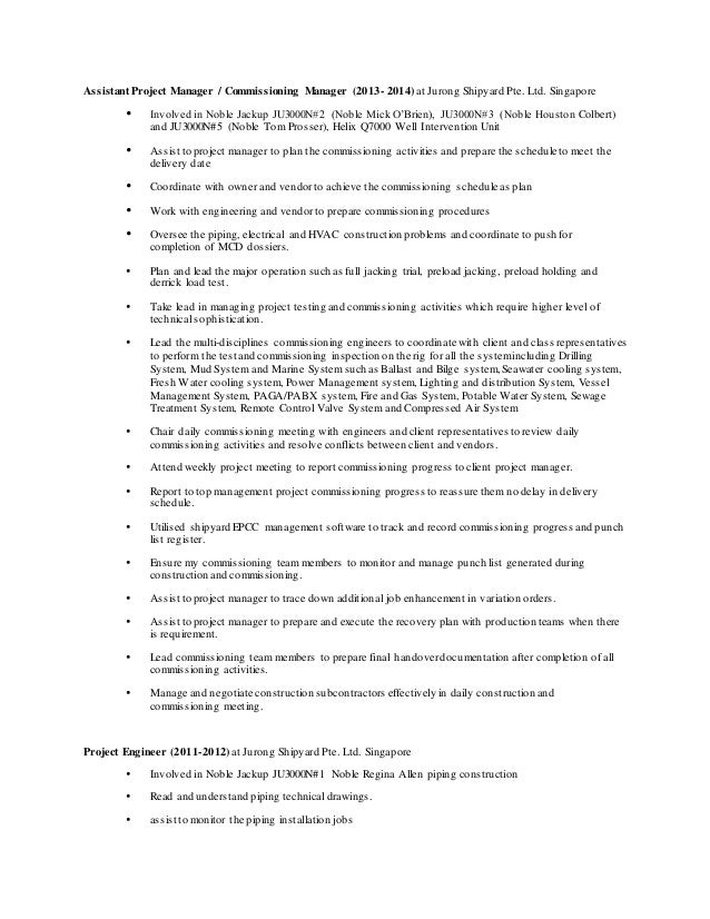 Unique Commissioning Manager Resume Picture Collection ...