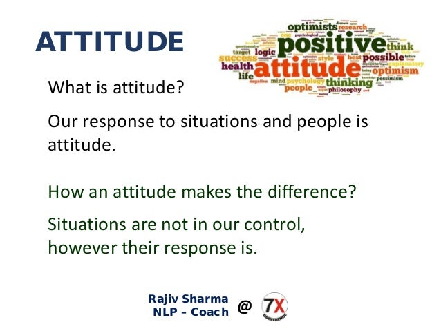 ATTITUDE What is attitude? Our response to situations and people is attitude. How an attitude makes the difference? Situat...