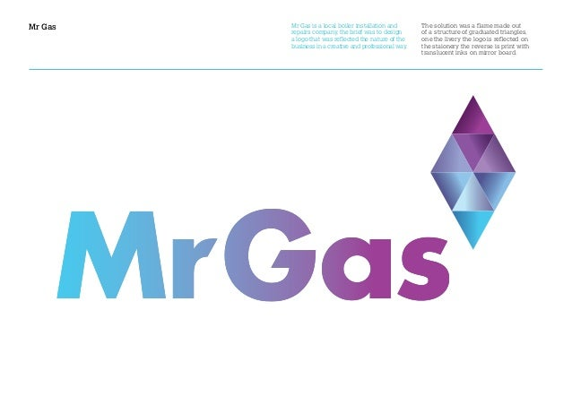Mr Gas The solution was a flame made out of a structure of graduated triangles, one the livery the logo is reflected on th...