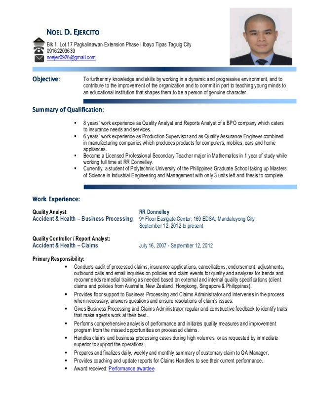 resume of noel d  ejercito
