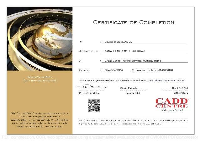 certificate cad autocad cadd centre student creo 2d training mumbai