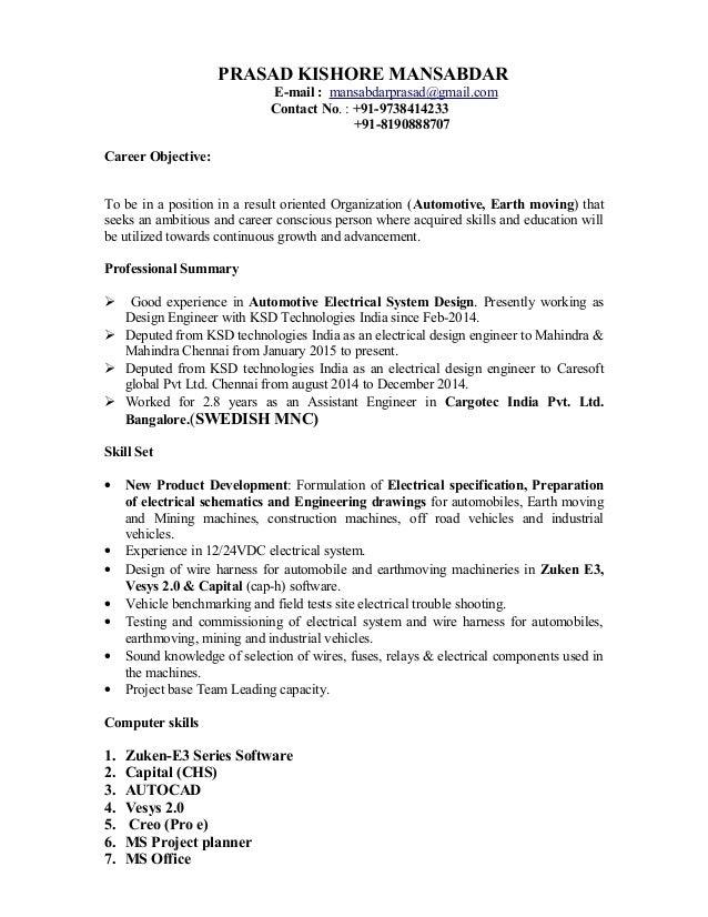 prasad resume rh slideshare net wiring harness design engineer job in pune wiring harness design engineer
