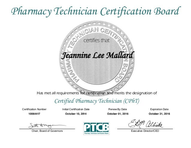 Pharmacy Technician Certification Certificate