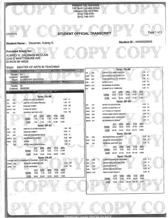 oakland community college transcript OCU Official Transcripts