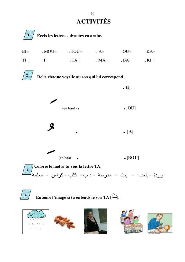 16 Ecris les lettres suivantes en arabe. BI= , MOU= , TOU= , A= , OU= , KA= TI= , I = , TA= , MA= , BA= , KI= Relie chaque...