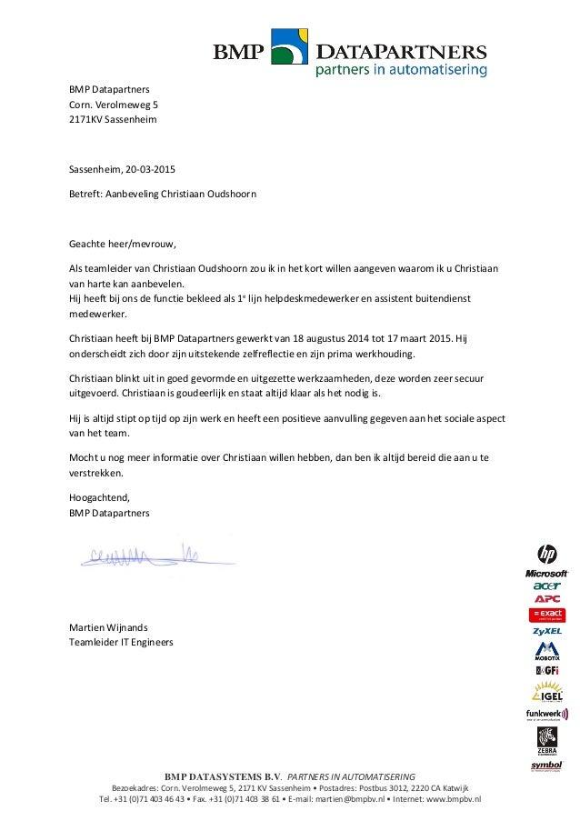 aanbevelingsbrief Christiaan Oudshoorn BMP Datapartners