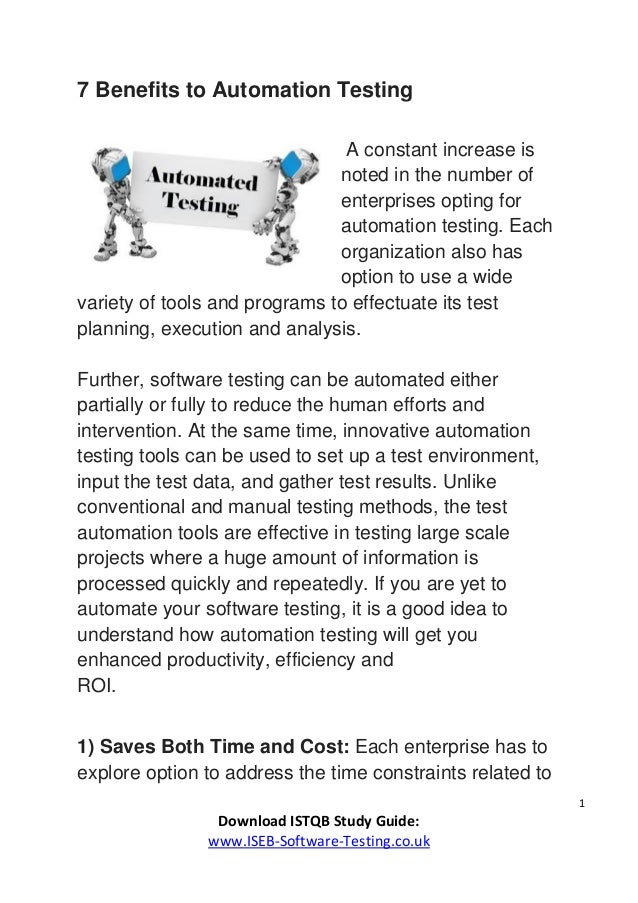 7 benefits to automation testing - (ISEB / ISTQB Foundation) - www.is…