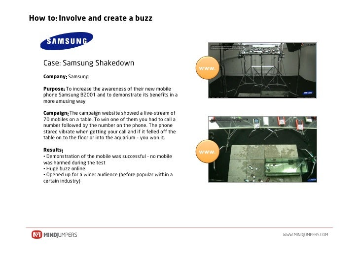 How to Involve and create a buzz        Case Samsung Shakedown                                                            ...