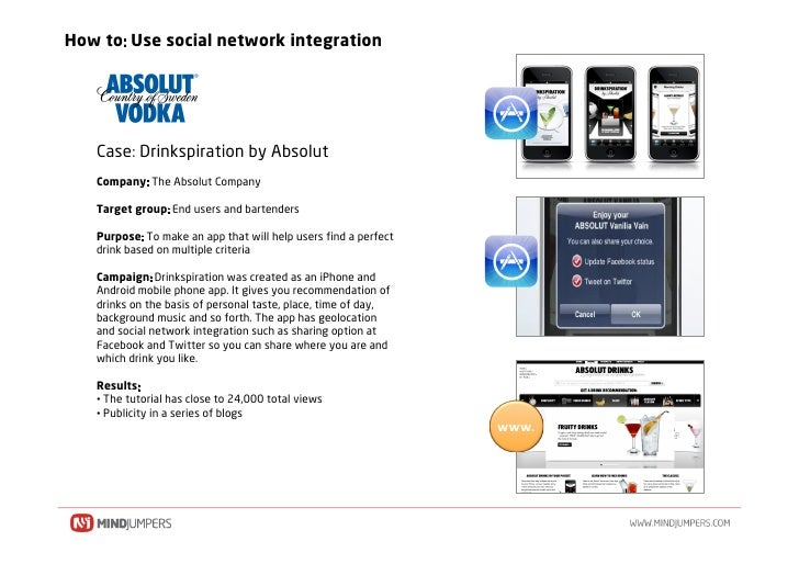 How to Use social network integration        Case Drinkspiration by Absolut    Company The Absolut Company     Target grou...