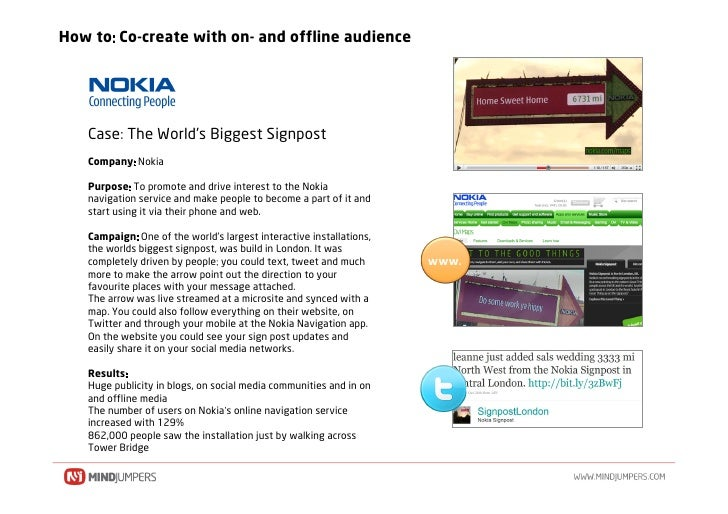 How to Co-create with on- and offline audience        Case The World's Biggest Signpost    Company Nokia     Purpose To pr...