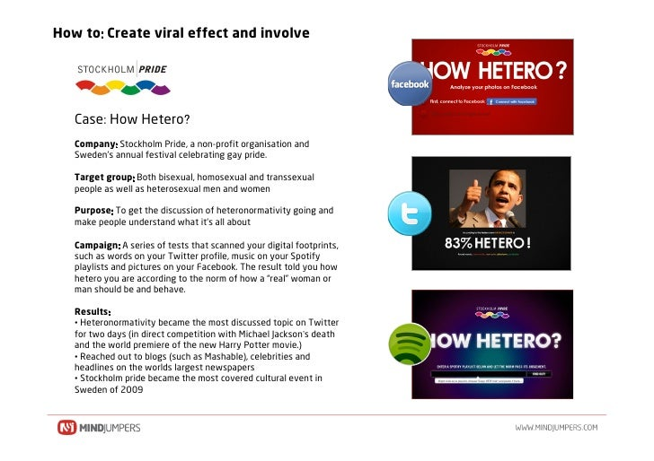 How to Create viral effect and involve        Case How Hetero    Company Stockholm Pride, a non-profit organisation and   ...