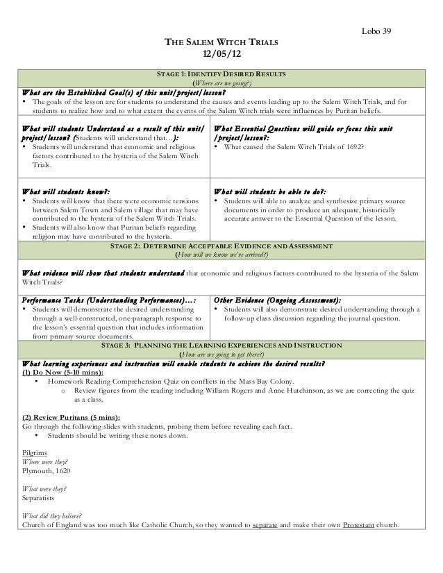 LoboUnit Plan – Salem Witch Trials Worksheet