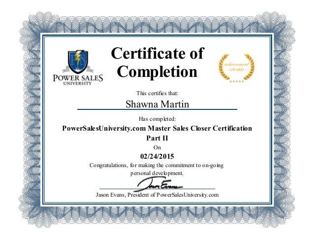Power Sales University Certificate _Part 2