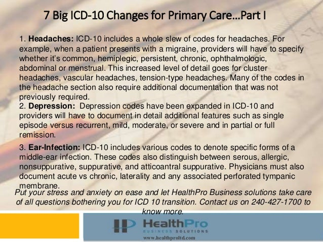Instructor Course www.healthproltd.com 7 Big ICD-10 Changes for Primary Care…Part I 1. Headaches: ICD-10 includes a whole ...