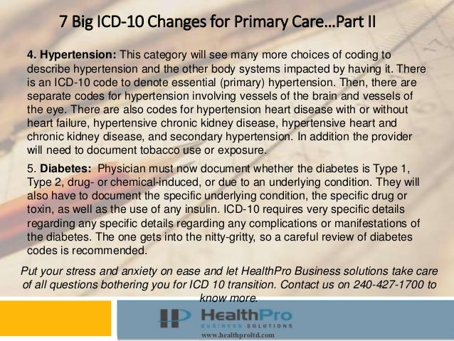 Instructor Course www.healthproltd.com 7 Big ICD-10 Changes for Primary Care…Part II 4. Hypertension: This category will s...