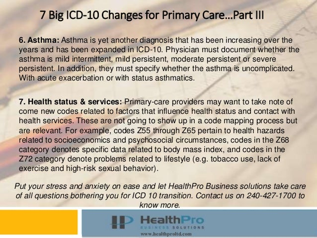 Instructor Course www.healthproltd.com 7 Big ICD-10 Changes for Primary Care…Part III 6. Asthma: Asthma is yet another dia...