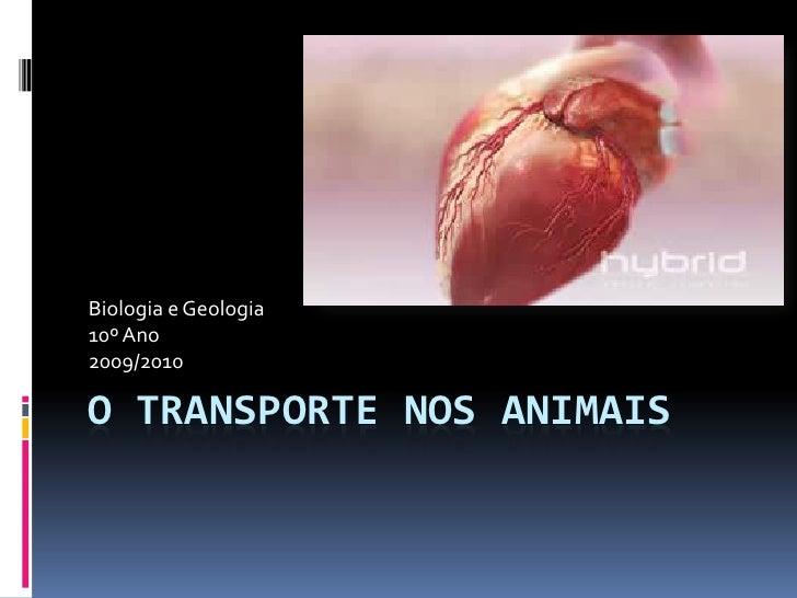 Biologia e Geologia 10º Ano 2009/2010  O TRANSPORTE NOS ANIMAIS