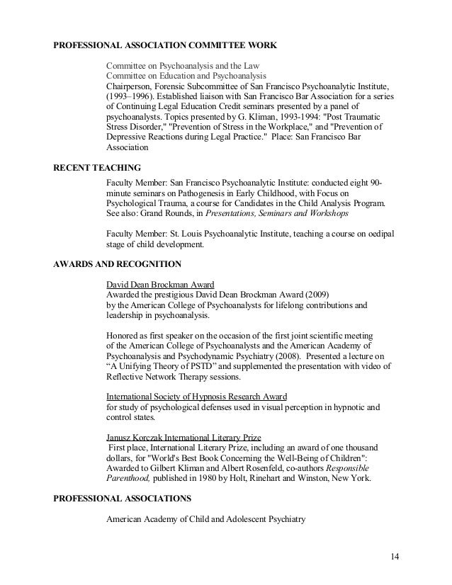 CV Gilbert Kliman MDCV 120714 – Psychiatrist Job Description