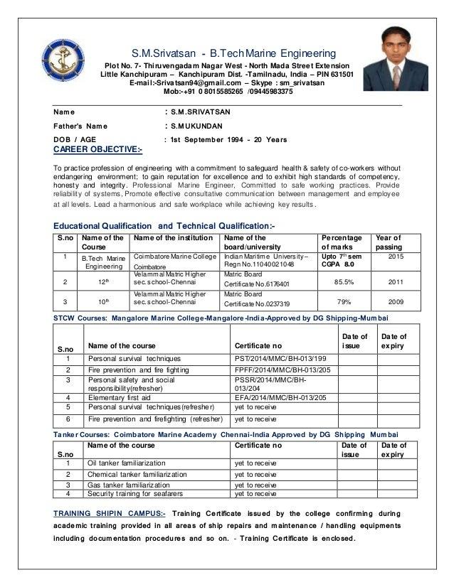 Marine Engineer Resumes. Srivatsan Cv Marine Engineering Revised .