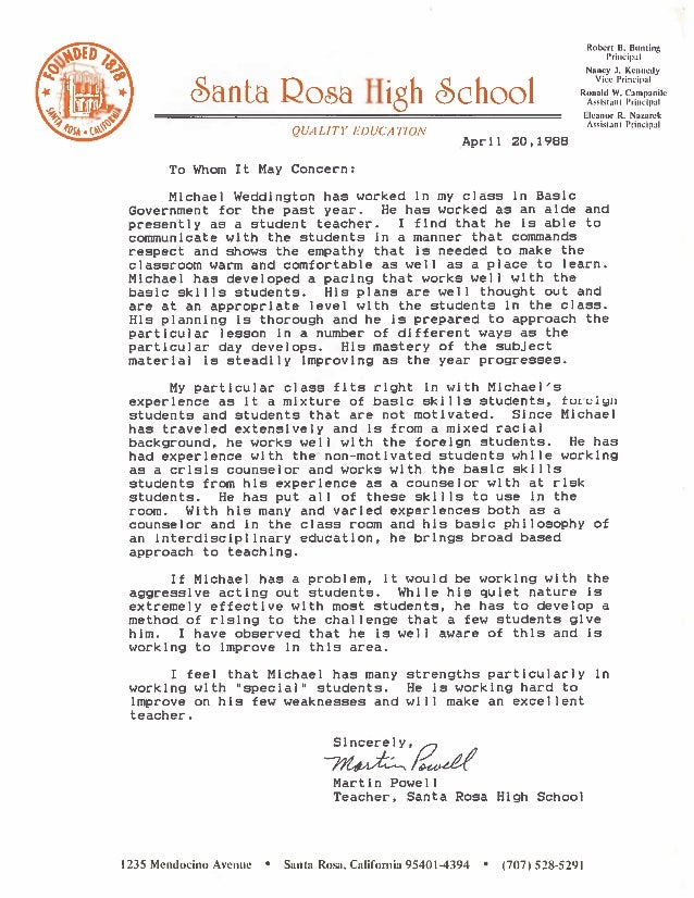 Reference Letter For Teacher | Recommendation Letter Teaching Credential Program Martin Powell