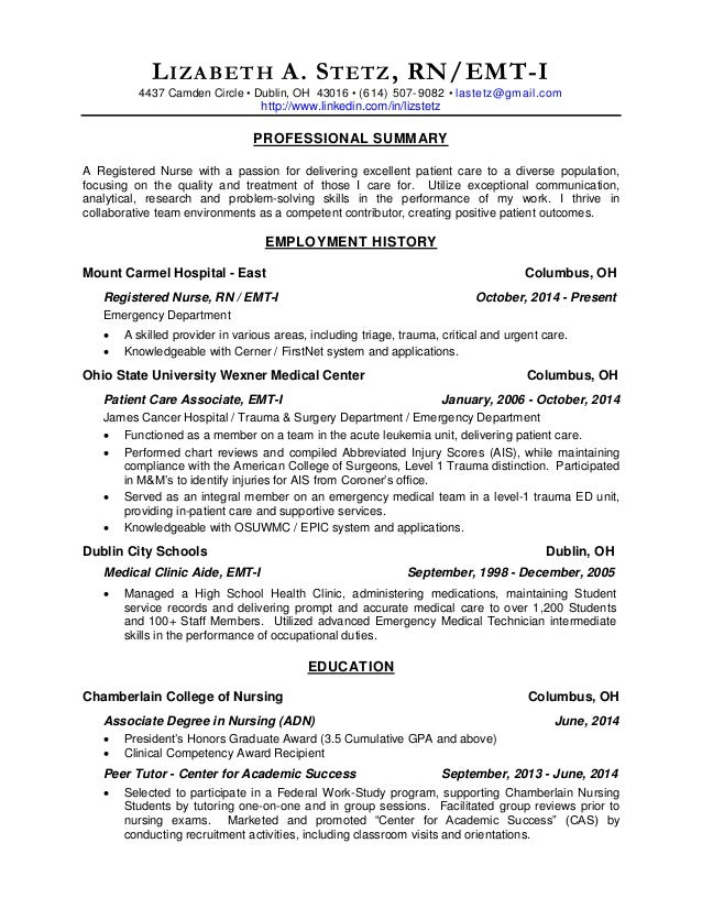 Emergency Room Rn Resume