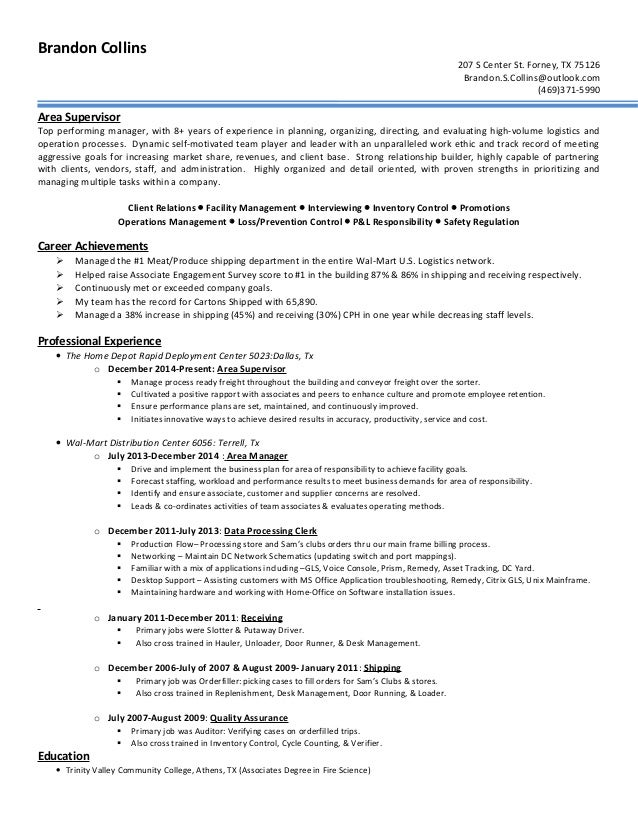 resume area supervisor
