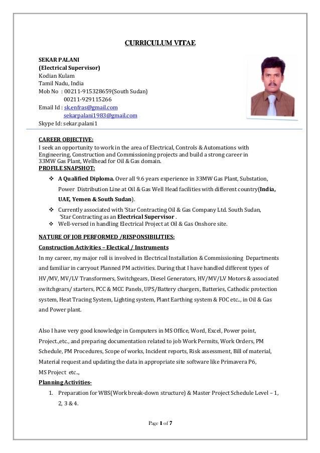 electrical supervisor curriculum vitae