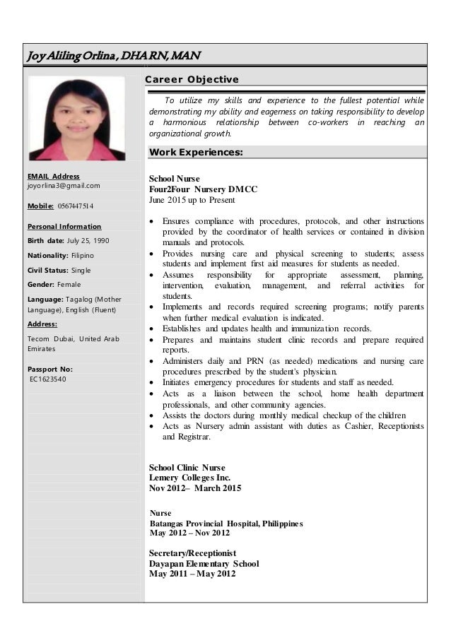 resume of joy orlina  1