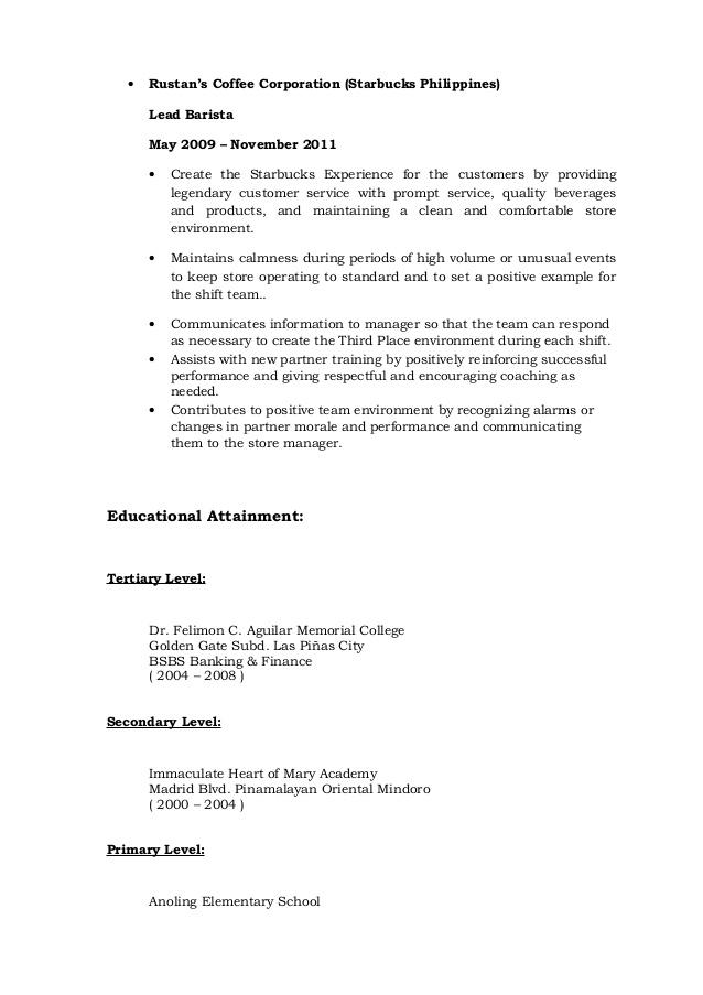 Barista Resume Manager Level Experienced Barista Resume