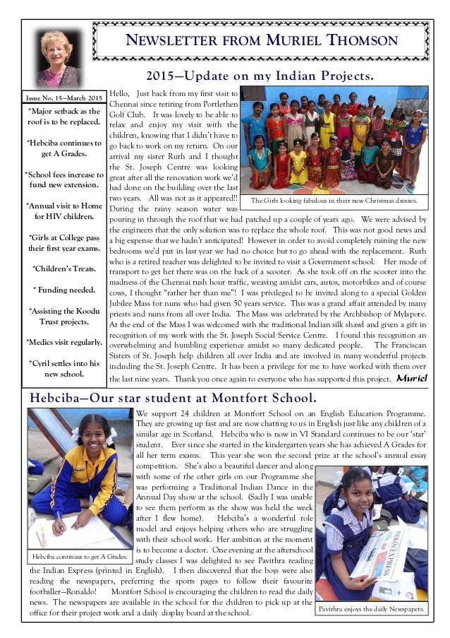 NEWSLETTER FROM MURIEL THOMSON 2015—Update on my Indian Projects. Hebciba—Our star student at Montfort School. Hello, Just...