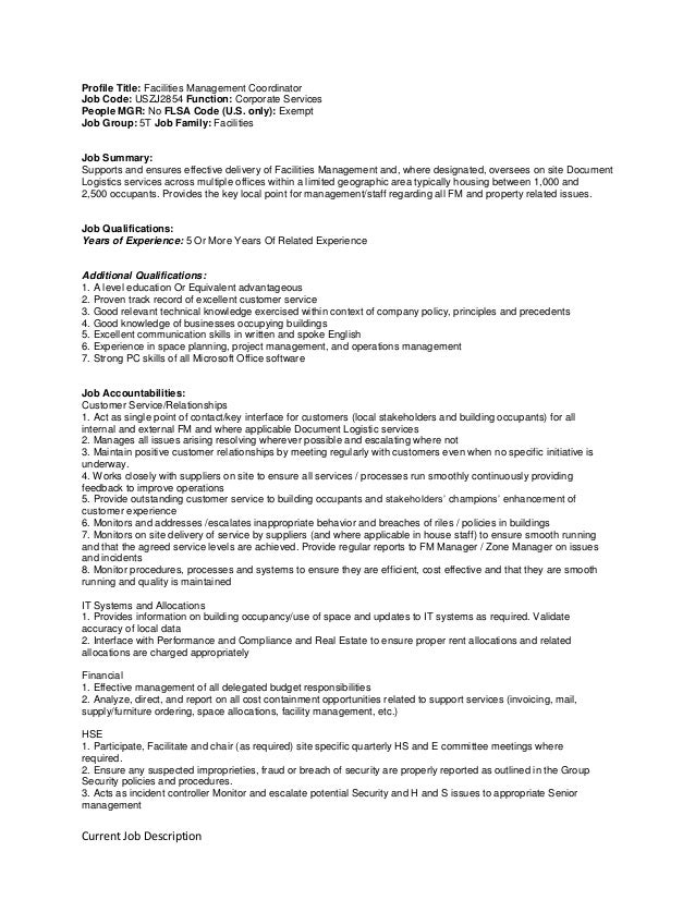 facilities coordinator job description - Koran.sticken.co