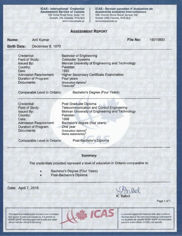 ICAS Degree Assessment Report