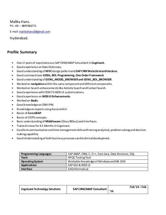 resume abap crm