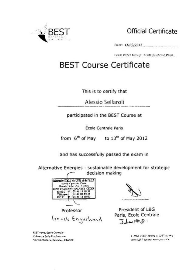 Best Course Certificate B. e N.