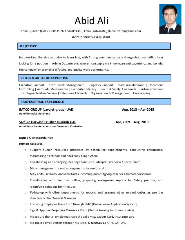 administrative assistant resume office sample free cv uk medical template