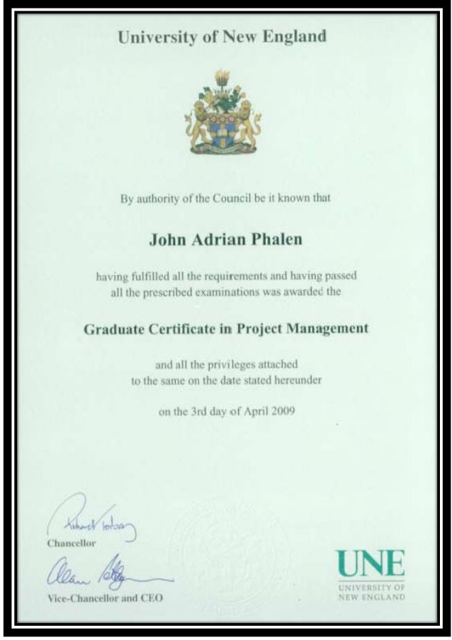 Graduate Certificate In Project Management University Of New England
