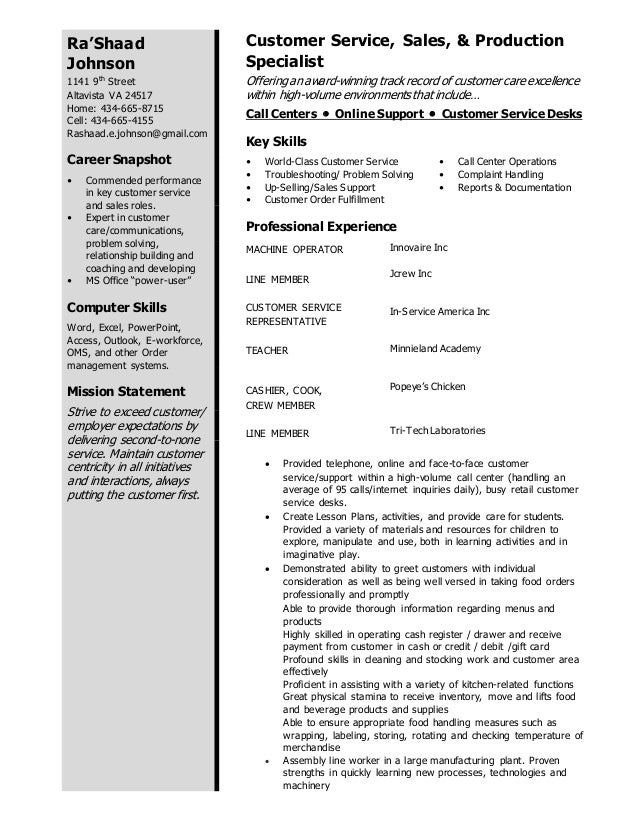 Rashaad Resume Customer Service Call Center