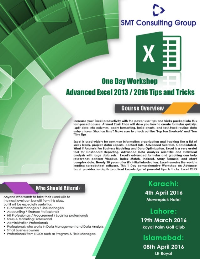 one day workshop advanced excel tips tricks smt consulting group