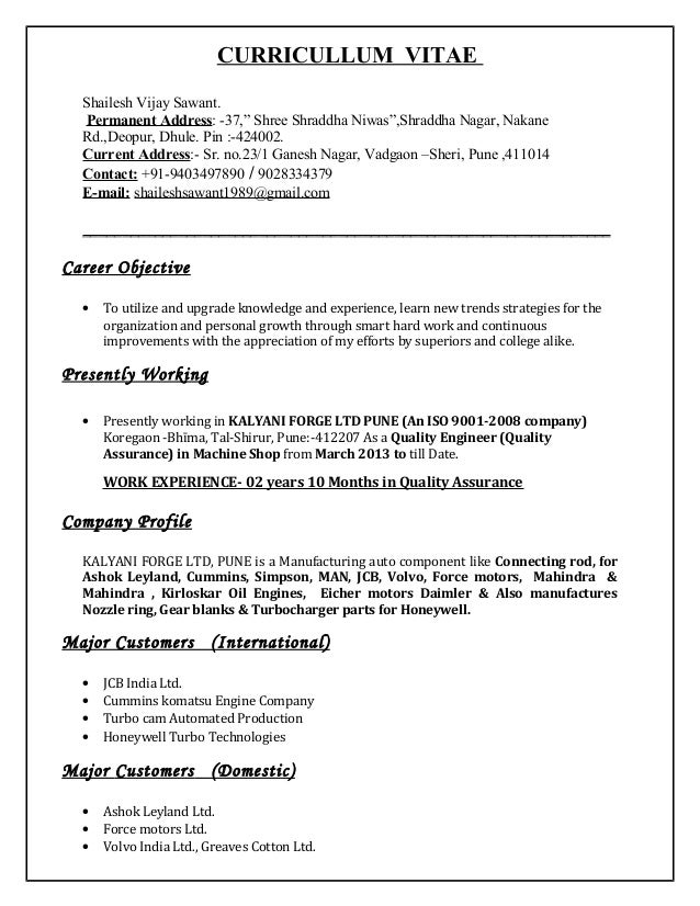 """CURRICULLUM VITAE Shailesh Vijay Sawant. Permanent Address: -37,"""" Shree Shraddha Niwas"""",Shraddha Nagar, Nakane Rd.,Deopur,..."""