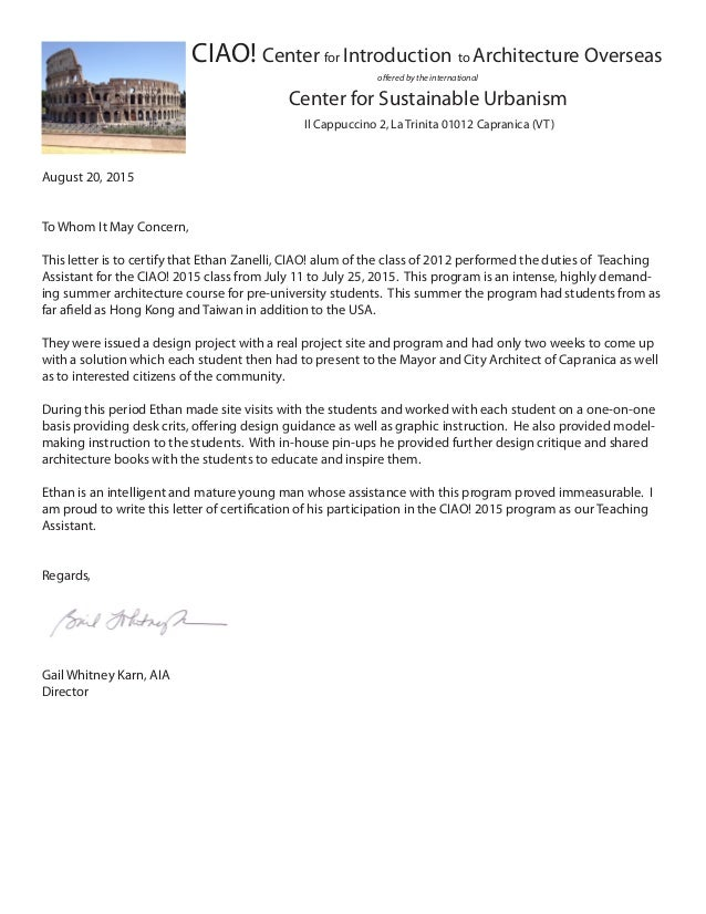 Letter Of Certification Ethan 2015