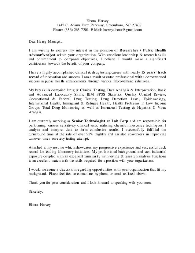 Elnora's cover letter