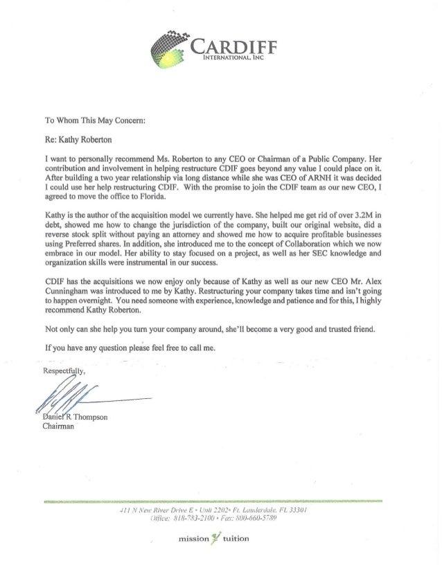 CDIF Daniel Thompson Recommendation Letter