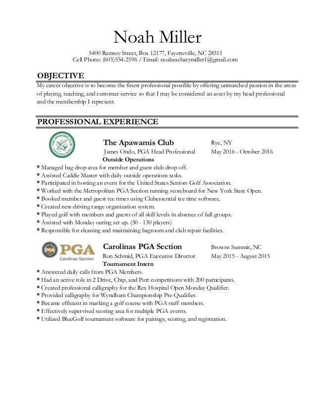 OBJECTIVE Rye, NY James Ondo, PGA Head Professional May 2016 - October 2016 Carolinas PGA Section Browns Summit, NC Ron Sc...