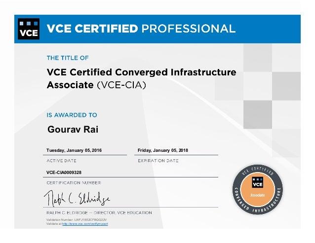 Vce Certified Converged Infrastructure Associate Certificate