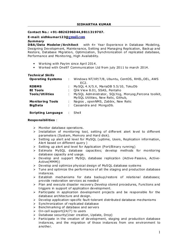 siddhartha resume - Data Modeler Resume